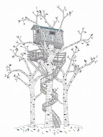 Treehouse Tree Drawing Draw Spiral Coloring Staircase