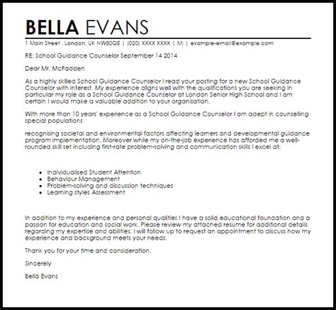 Guidance Counselor Resume Cover Letter by Sle Of A Guidance Counselor Resume