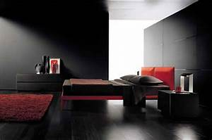Examples of romantic and sexy bedrooms interior design for Black and red bedroom ideas