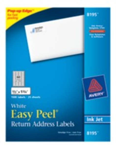 avery 8195 template easy peel white return address labels 8195