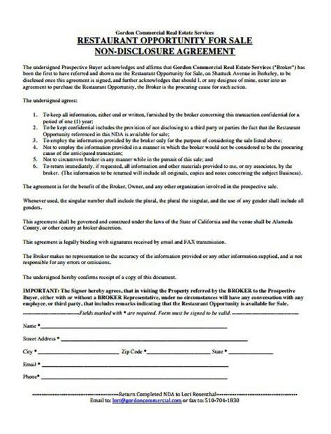 restaurant  disclosure agreement templates word