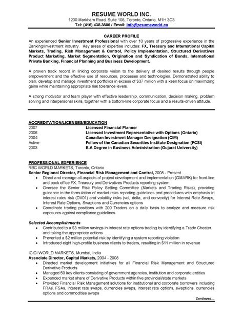 Banking Investment Resume Template - PDF Format | e-database.org