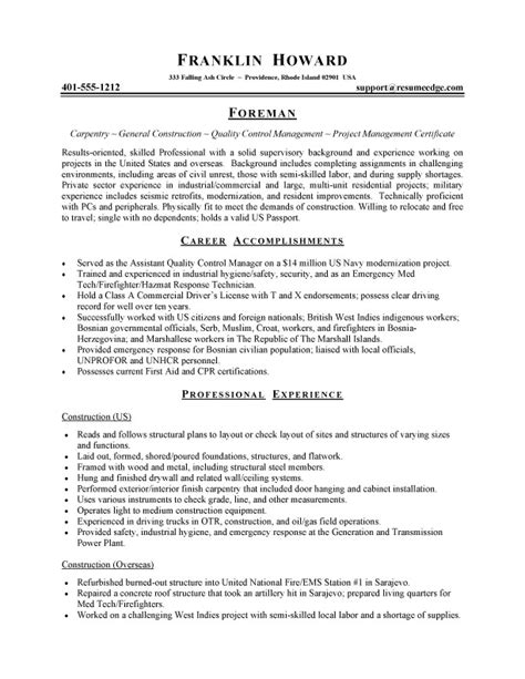 Carpenters Apprentice Resume by Carpenter Resume Exles Carpenter Cv Sle