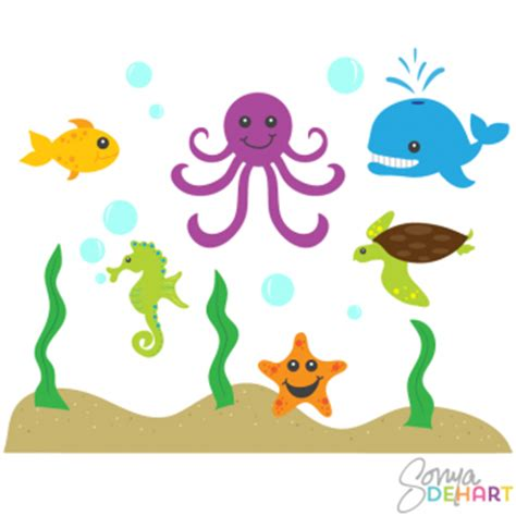 sea creatures clipart clip animals and sea creatures