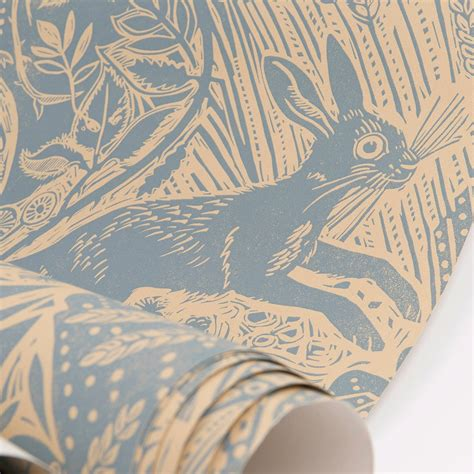 British Made Sofas And Chairs by Harvest Hare Wallpaper By Mark Hearld St Jude S Fabrics