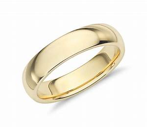 Comfort fit wedding ring in 18k yellow gold 5mm blue nile for Wedding ring fitters