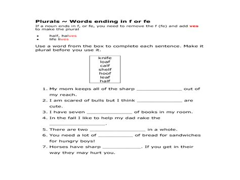 plurals words ending in f or fe worksheet for 2nd 4th