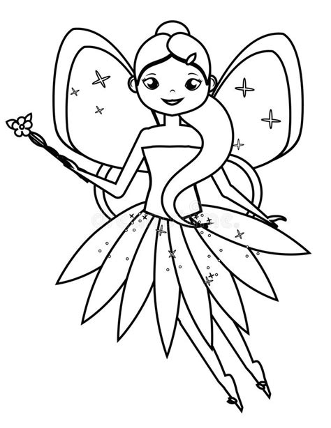 Coloring Page With Cute Flying Fairy Character Drawing