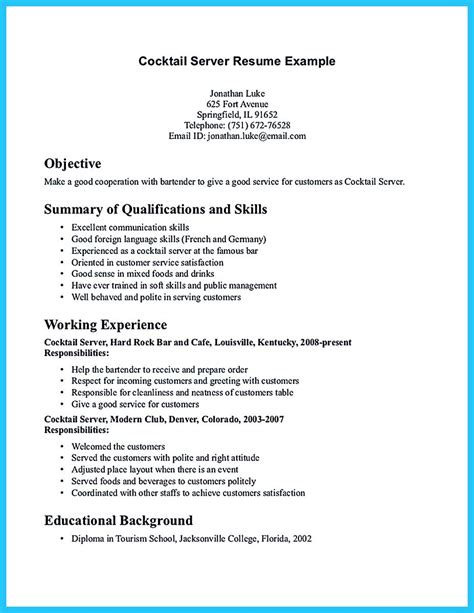 Impressive Resume Templates by Impressive Bartender Resume Sle That Brings You To A Bartender Resume Template