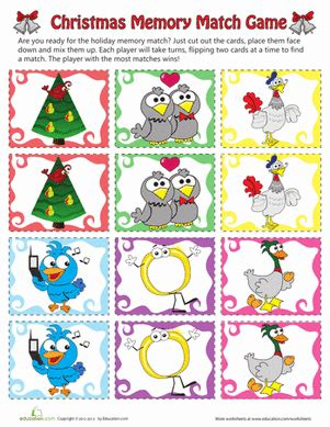 12 Days Of Christmas Game  Worksheet Educationcom