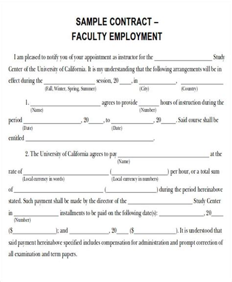 job agreement contract sample  examples  word