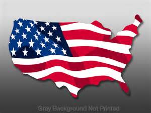 American Flag Decal in Shape of the Us