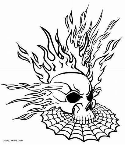 Coloring Pages Skull Flaming Skulls Printable