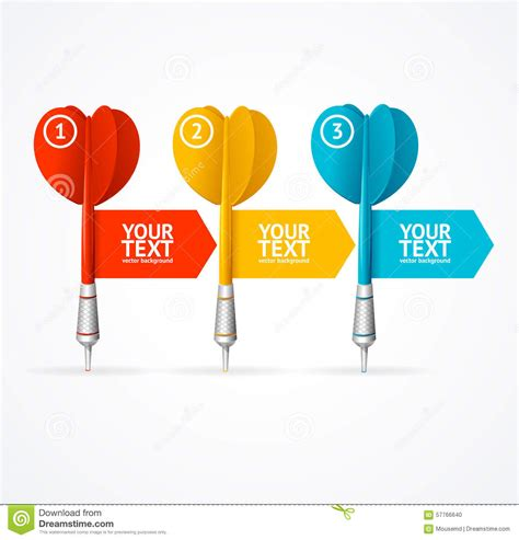 Set Of Darts Option Banner Vector Stock Vector Image