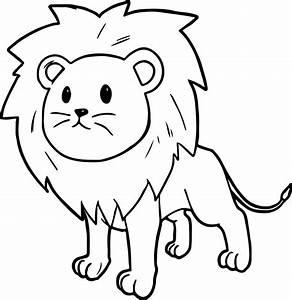 Cute Cartoon Lion Black And White