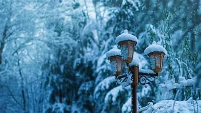 4k Snow Winter Street Lamp Background Pillar