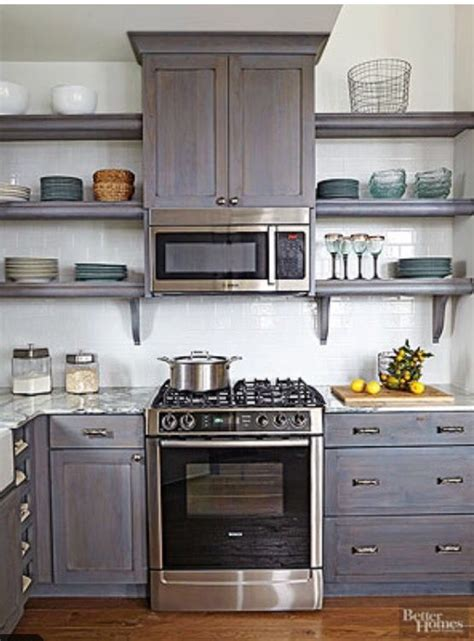 microwave  stove open shelving kitchen design
