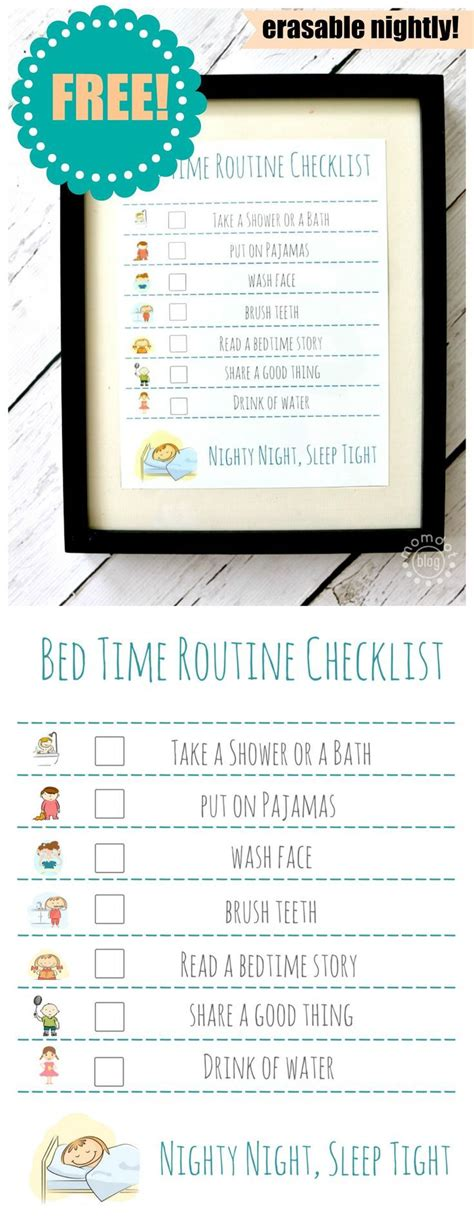 bed time routine checklist  printable routine