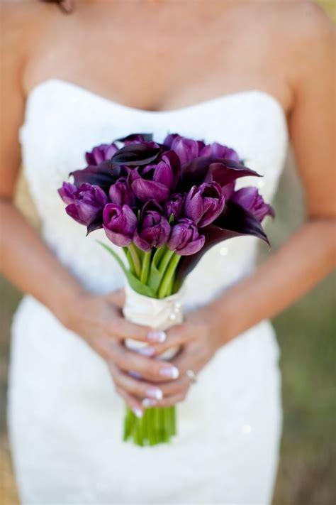 purple tulips wedding bouquet purple power wedding