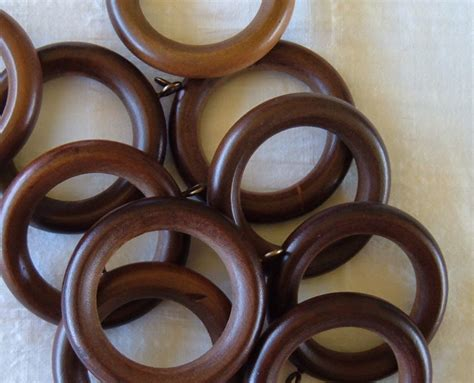 12 wooden curtain rings circles with eyelet screws