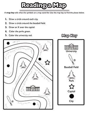 using a map key first grade word kindergarten social