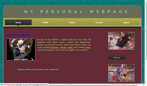 Personal Webpage Free Source Code Tutorials Articles