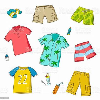 Clothes Summer Boys Vector Background Beach Different
