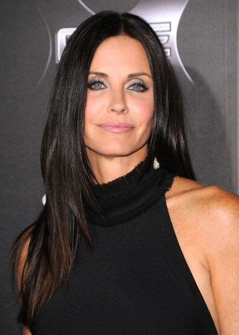 actress with long straight hair middle age actress courtney cox wears black long straight