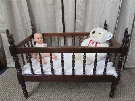 lot detail antique   solid wood baby crib