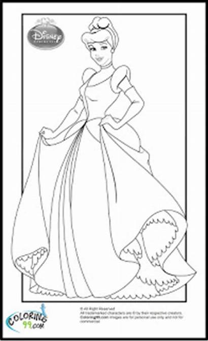 Coloring Disney Princess Pages Cinderella Princesses Printable