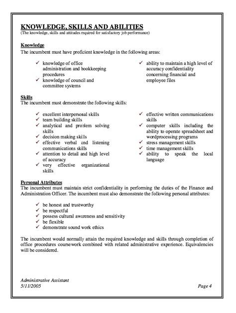 description sle administrative assistant sle