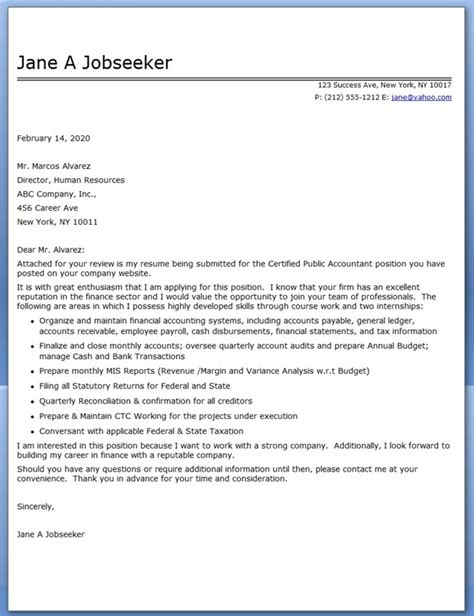 Cpa Cover Letter by Cover Letter For Cpa Resume Downloads
