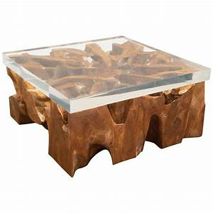 Large lucite and wood coffee table at 1stdibs for Wood and acrylic coffee table