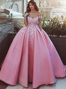 Ball Gown Off The Shoulder Pink Satin Prom Dress With