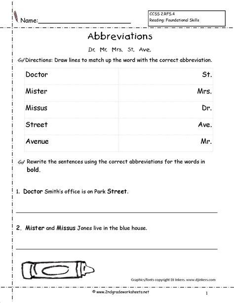 Abbreviation Worksheet Second Grade Abbreviation Best Free Printable Worksheets