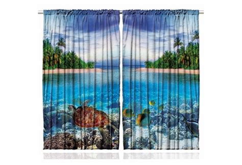tropical island curtain panel set