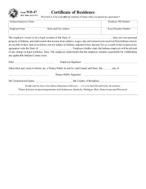 indiana form wh 47 rj05 sf 3531 fill online printable fillable blank
