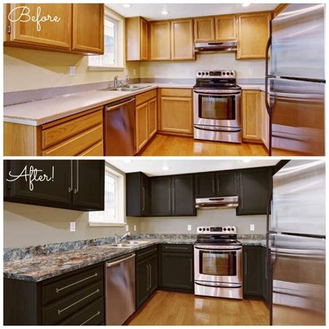 kitchen cabinets painted brown before and after photos of a countertop transformed using 6296
