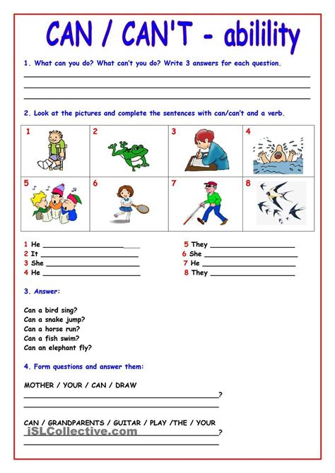 Can  Cant  Inglês  Pinterest  English, Worksheets And English Lessons