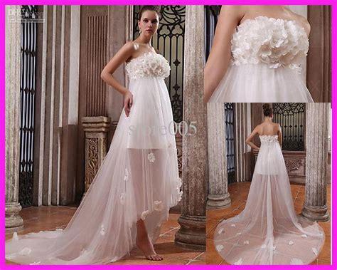 Wedding Dresses For Women : Empire Flowers Beach Maternity Wedding Dresses Gowns