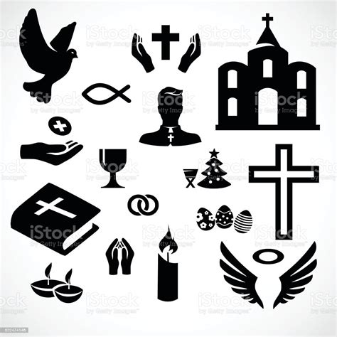 Catholic Church Icon Set Vector Illustration stock vector