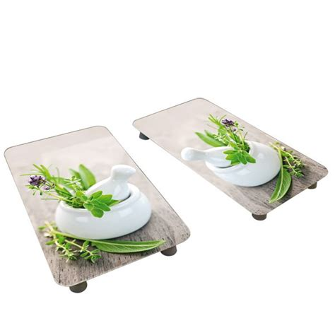 2 couvre plaques protection motifs jardin de fines herbes protection plaques de cuisson