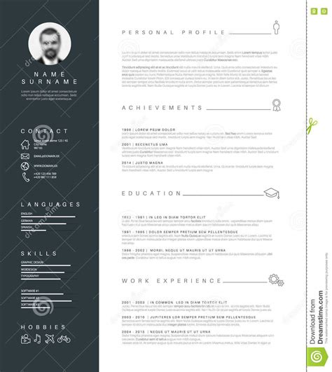 minimalist resume cv template with nice typography stock vector illustration of header