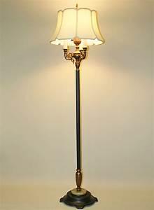 six way floor lamp w antique gold decorative arm accents With antique 6 way floor lamp