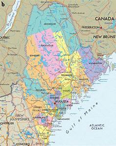 Cool Maine Map Glossy Poster Picture Photo Augusta