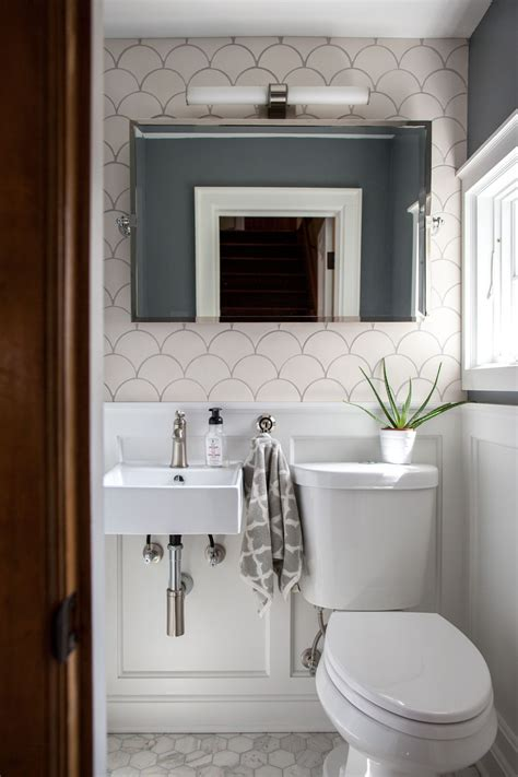 Crazy and Beautiful Tiny Powder Room with Color and Tile