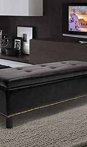 Amazon.com: Bonded Leather Storage Black Ottoman Modern ...