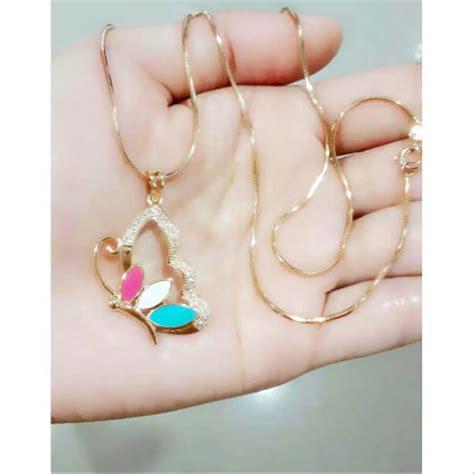 jual aksesoris perhiasan bermacam kalung xuping untuk wanita remaja lafal allah kupu dan