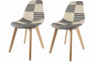 Lot Chaises Scandinaves : lot de 2 chaises scandinaves patchwork bicolores fjord chaise design pas cher ~ Teatrodelosmanantiales.com Idées de Décoration