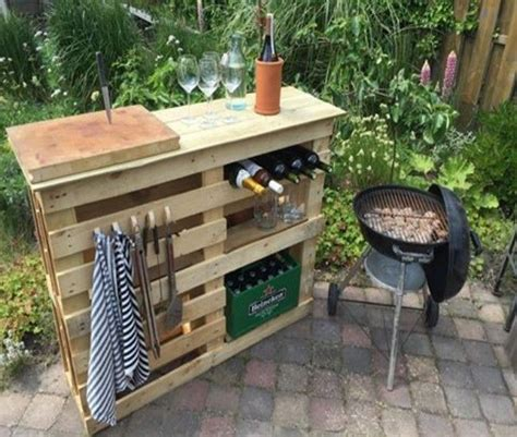 Bbq Side Table Made From 2 Old Pallets & Old Boards